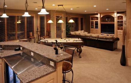 Photo of a gorgeous finished basement in Louisville