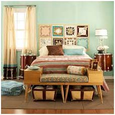 Photo of bedroom with vintage patterns