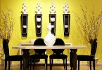 Photo of classy yellow dining room leading an interior design trend with colors that pop