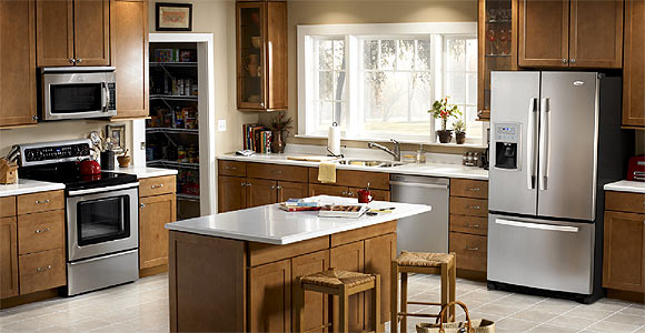 Photo of beautiful kitchen where caring for home appliances is mastered