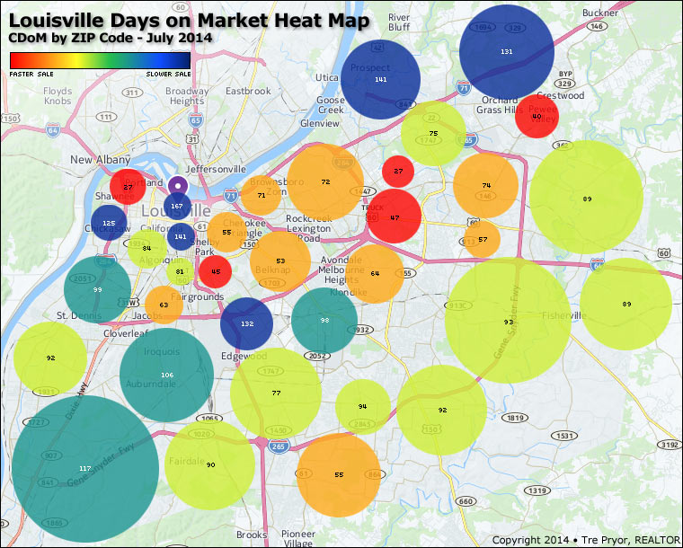 Louisville Days on Market Heat Map CDoM by ZIP Code, July 2014