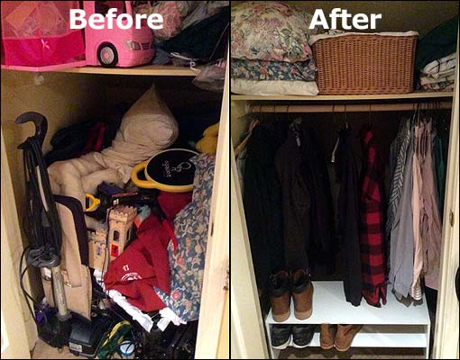 Photos of before and after decluttering my house.