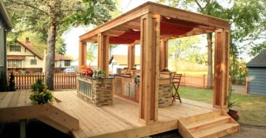 Photo of an outdoor kitchen