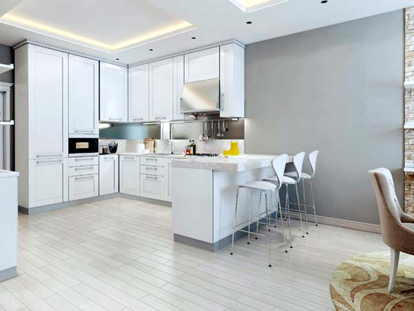 Photo of a clean, modern kitchen.