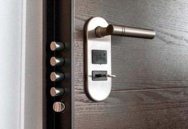 Photo of very secure door hardware with locks