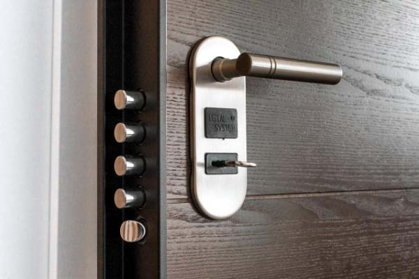 Photo of very secure garage door hardware with locks
