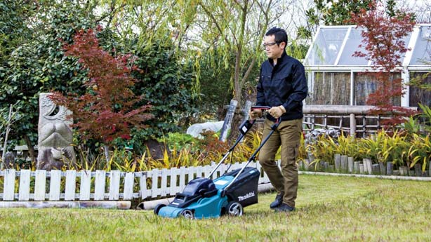 Photo of a man mowing his lawn