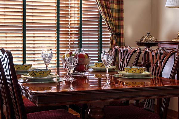 Photo of a beautiful wood dining room table set
