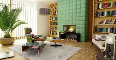 Photo of a family room with mid-century modern furniture.