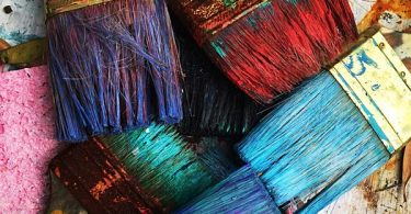 Photo of different colored paint brushes