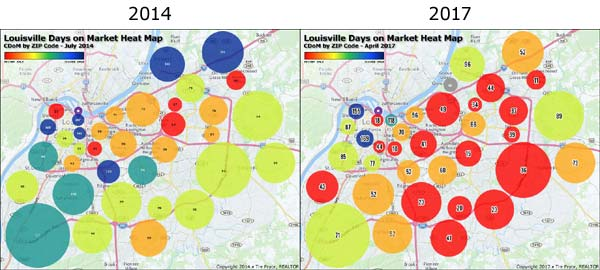 Louisville Days on Market Heat Map CDoM by ZIP Code - 2014 vs 2017