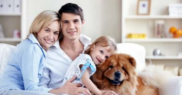 Photo of a family with a dog
