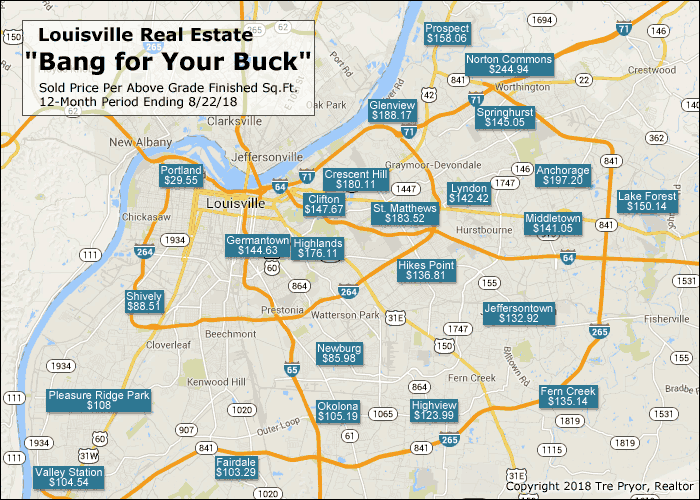 Louisville real estate bang for your buck map with 2018 data.