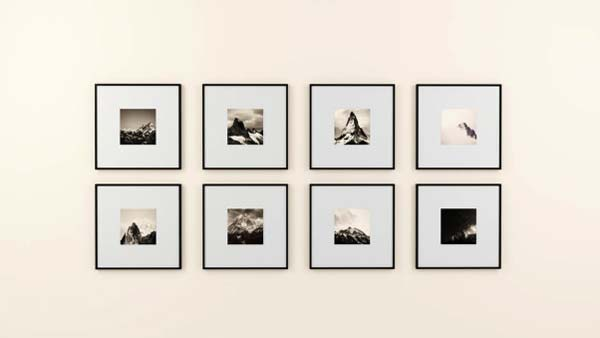 Photo of 8 framed hand-picked photos will definitely personalize your space